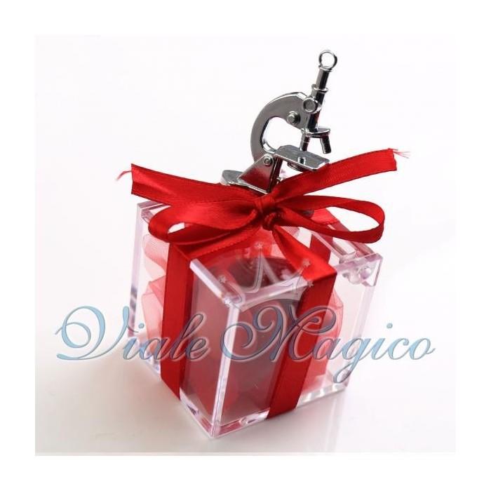 Bomboniere Laurea in Chimica Plexiglass Rosso con Microscopio Confettata Offerte