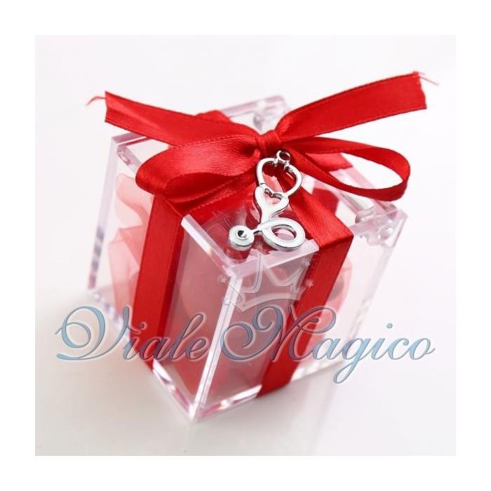 Bomboniere Laurea Infermieristica Plexiglass Rosso con Stetoscopio Bianco