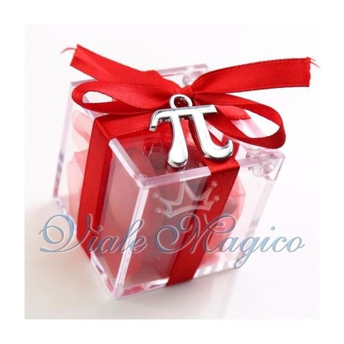 Bomboniere Laurea Fisica Matematica Plexiglass Rosso con Pi Greco