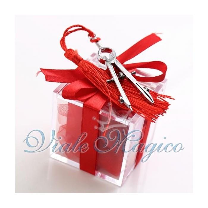 Bomboniere Laurea Architettura Plexiglass Rosso con Compasso Confetti Offerte