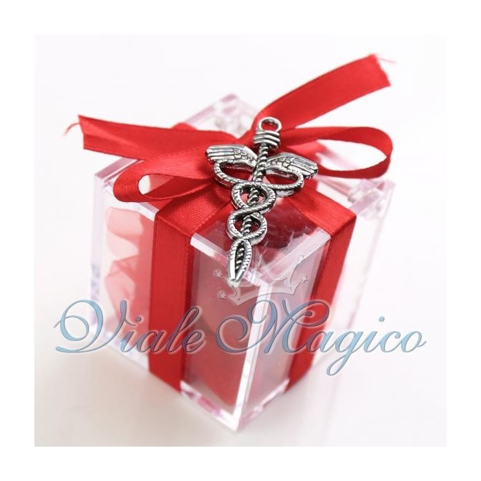 Bomboniere Laurea Farmacia Plexiglass Rosso Caduceo Classico Offerte Confetti