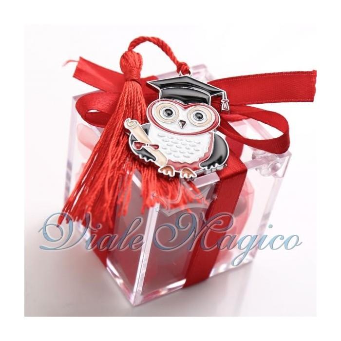 Bomboniere Laurea Portafortuna Plexiglass Rosso con Gufetto Laureato Confettata