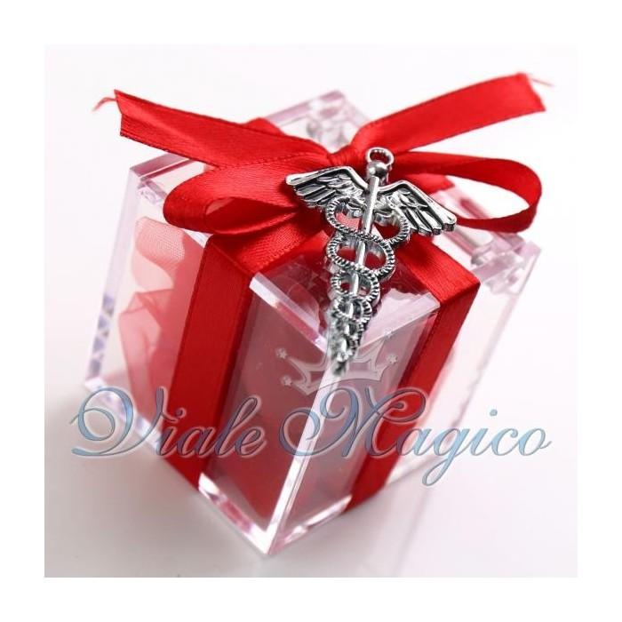 Bomboniere Laurea Farmacia Plexiglass Rosso con Caduceo Moderno Offerte Confetti