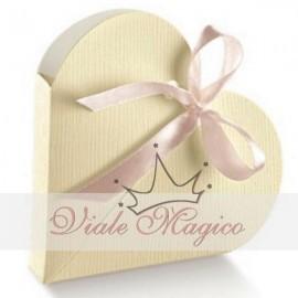 Astuccio Cuore Porta Confetti Bianco Linea Seta