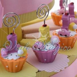 Bomboniere Compleanno Torta Portaconfetti con Cupcake Memoclip
