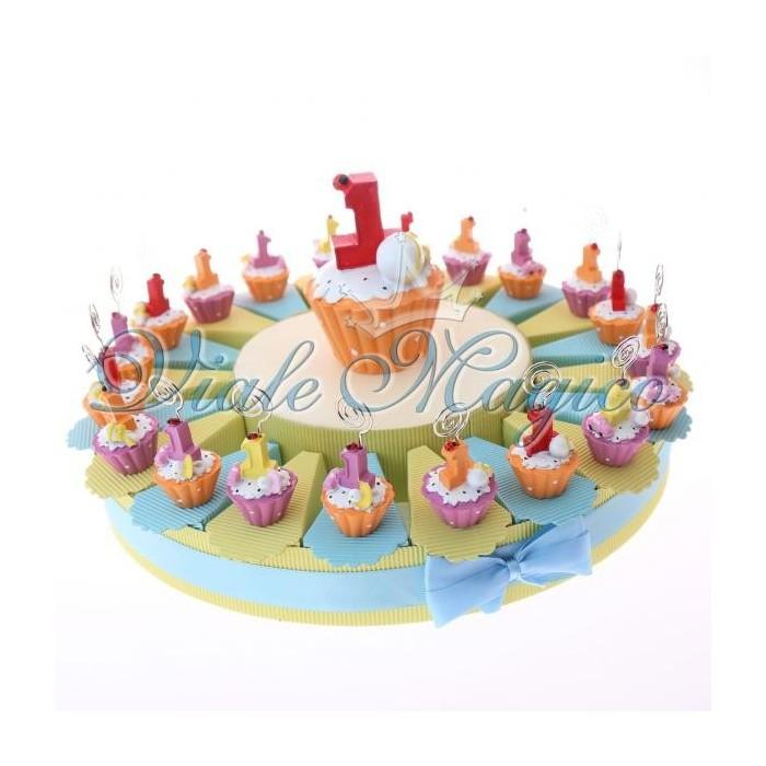 Bomboniere Primo Compleanno Torta Portaconfetti con Cupcake Memoclip Bimbo