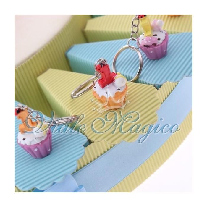 Bomboniere Primo Compleanno Torta Portaconfetti con Cupcake Portachiave Bimbo
