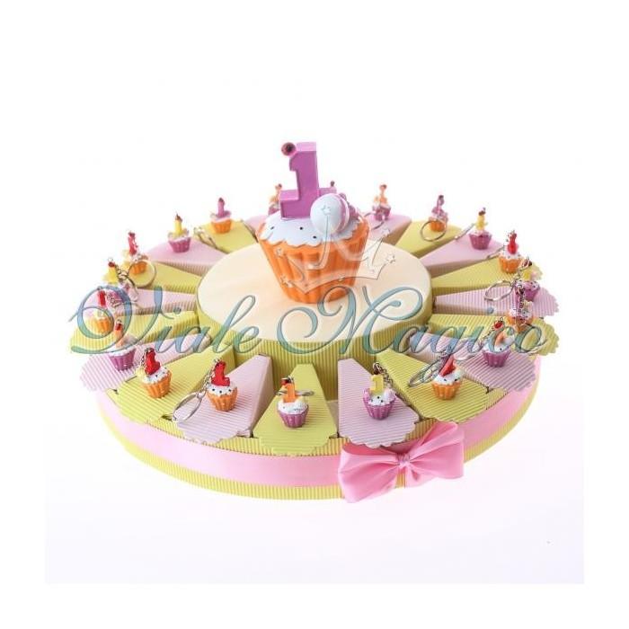 Bomboniere Torta Portaconfetti con Cupcake Primo Compleanno Bimba Offerte