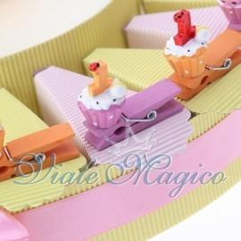 Torta Portaconfetti con Mollettina Cupcake Compleanno Bimba