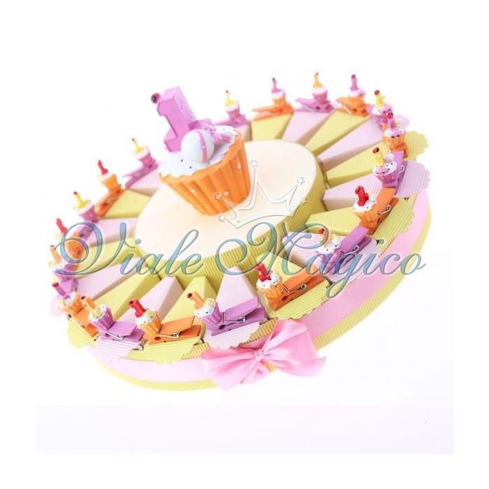 Bomboniere Economiche Torta Portaconfetti Mollettina Cupcake Compleanno Bimba
