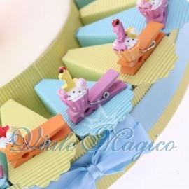 Torta Portaconfetti con Mollettina Cupcake Compleanno Bimbo
