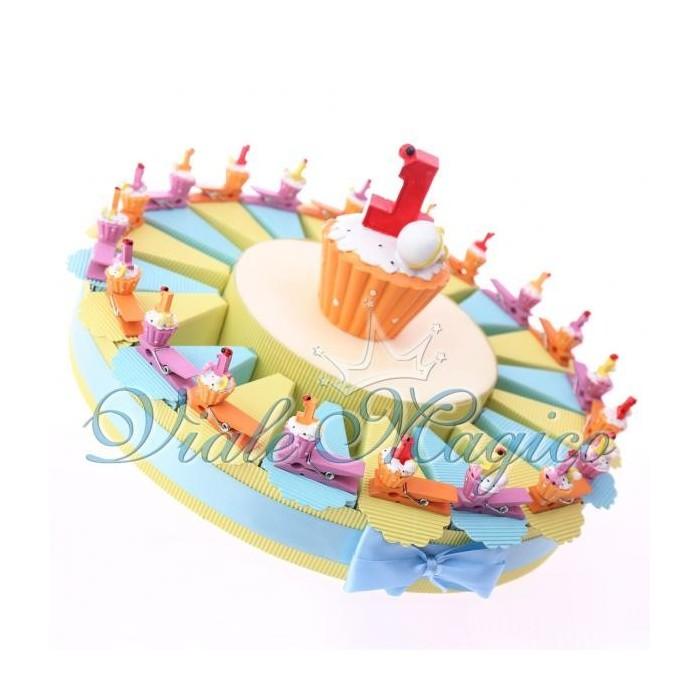 Bomboniere Torta Portaconfetti con Mollettina Cupcake Compleanno Bimbo