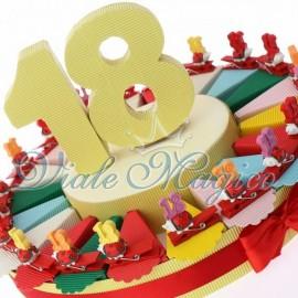 Bomboniere Compleanno Torta Portaconfetti Mollettina Coccinella 18 Anni