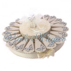 Torta Portaconfetti Tortora a Pois con Ciondolo Farfalla