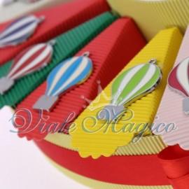 Bomboniere Compleanno Torta Portaconfetti con Ciondolo Mongolfiere Colorate