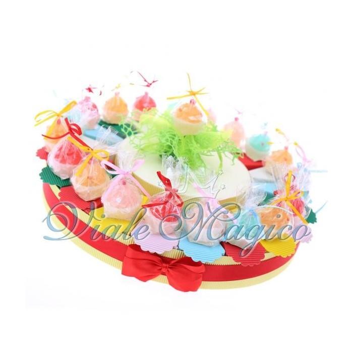 Torta Bomboniere Portaconfetti Candele Cupcake Colorate Diciottesimo Compleanno