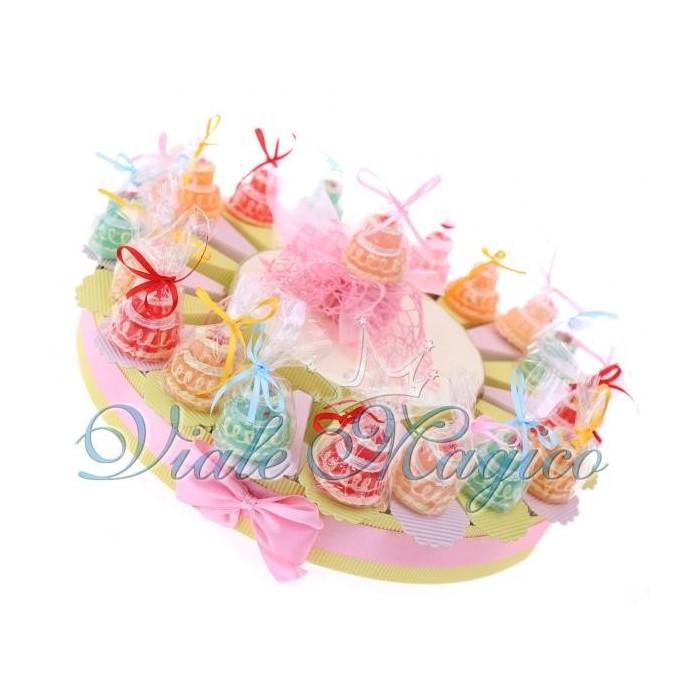 Bomboniere Offerta Fettine Torta Portaconfetti con Candele Compleanno Bimba