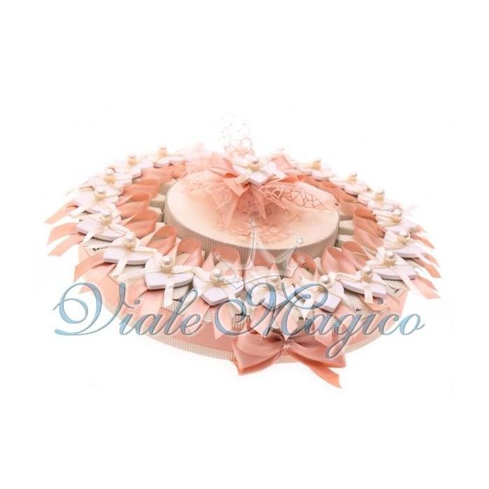 Bomboniere Matrimonio Torta Portaconfetti con Cuore Perla