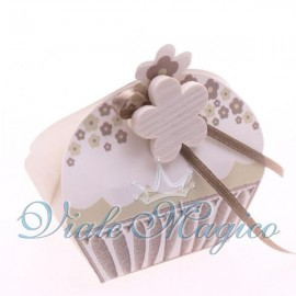 Bomboniere Astuccio Confezionato Cupcake con Fiorellino Shabby Matrimonio