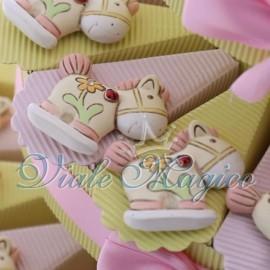 Torta Portaconfetti Bomboniere Nascita Battesimo Magnete Pony Flower Bimba