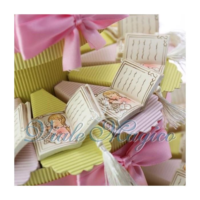 Torta Bomboniere Portaconfetti Libro con Nappina Prima Comunione Bimba