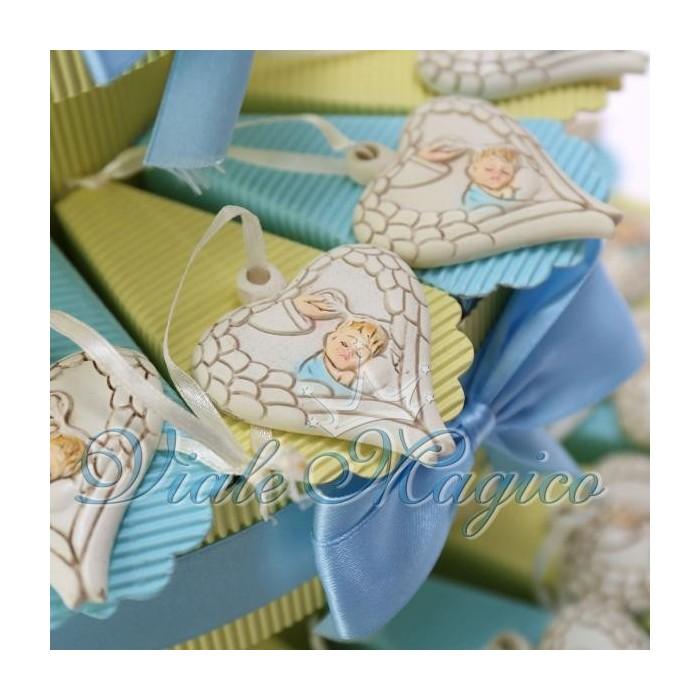 Torta Bomboniere Portaconfetti Cuore Alato Battesimo Bimbo Confettata Segnaposto