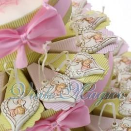 Torta Portaconfetti Cuore Alato Battesimo Bimba