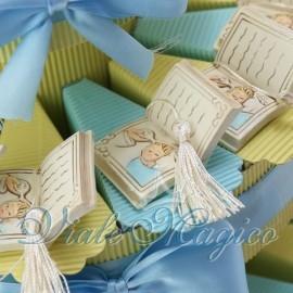 Torta Bomboniere Porta Confetti Libro con Nappina Santo Battesimo Bimbo Offerte