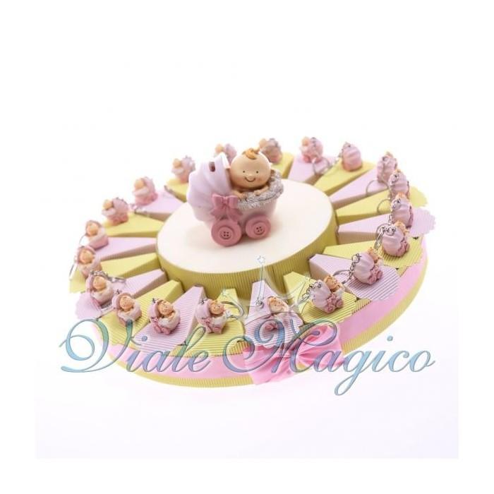 Bomboniere Nascita Battesimo Torta Portaconfetti Portachiave Carrozzina Bimba