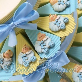 Torta Portaconfetti con Magnete Carrozzina Celeste