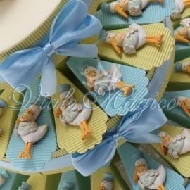 Torta Portaconfetti Magnete Cicogna Celeste Bimbo