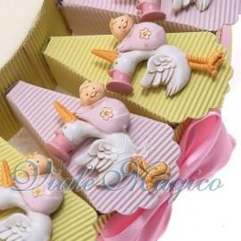 Torta Portaconfetti con Magnete Cicogna Rosa Bimba