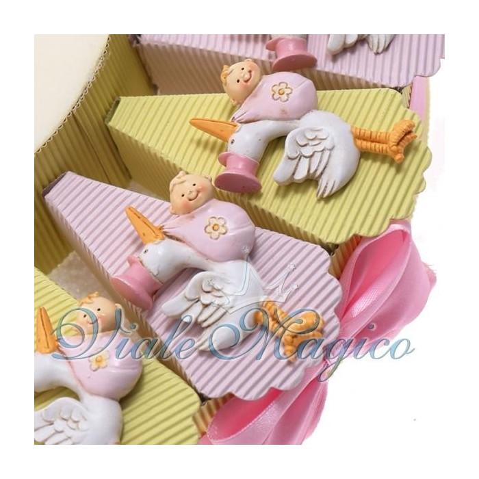 Bomboniere Nascita Battesimo Torta Portaconfetti con Magnete Cicogna Bimba
