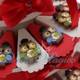 Torta Portaconfetti con Magnete Gufetti Colorati