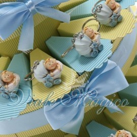 Torta Portaconfetti Portachiave Carrozzina Celeste