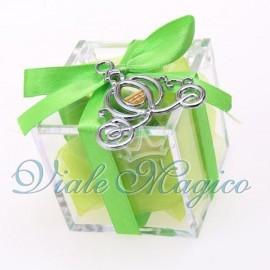 Plexiglass Verde Bianco con Ciondolo Carrozza