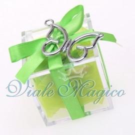 Plexiglass Bianco Verde con Ciondolo Farfalla