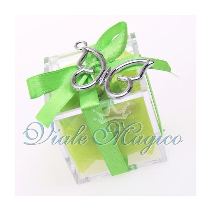 Bomboniera Plexiglass Bianco Verde con Ciondolo Farfalla Promessa