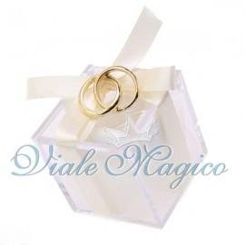 Bomboniera Plexiglass Bianco Verde con Fedi Oro Intrecciate Promessa Matrimonio
