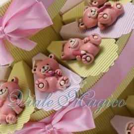 Torta Portaconfetti con Magnete Orsetto Studente Rosa
