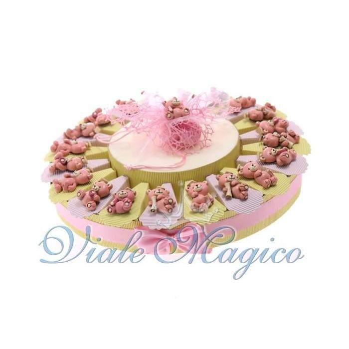 Bomboniere Compleanno Torta Portaconfetti con Magnete Orsetto Studente Rosa