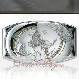Icona Sacra Famiglia in Argento Laminato