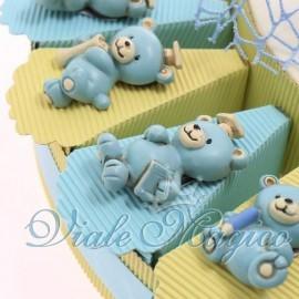 Torta Portaconfetti con Magnete Orsetto Studente Celeste