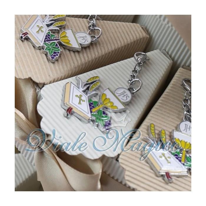 Torta Portaconfetti Bomboniere Gancio con Ciondolo Calice Prima Comunione