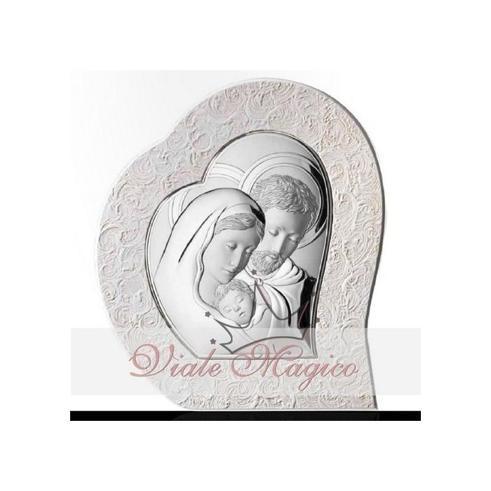 Icona Sacra Famiglia Argento Laminato per Idea Regalo