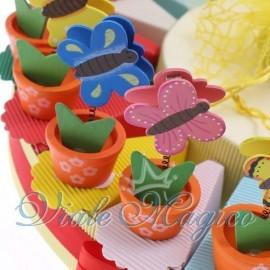 Torta Portaconfetti Piantina con Farfalla Memoclip