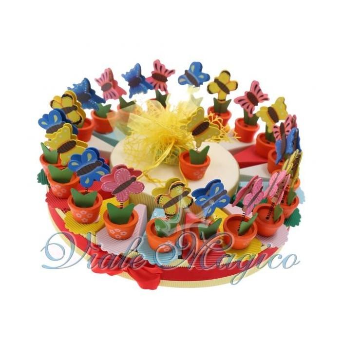 Bomboniere Torta Portaconfetti Piantina con Farfalla Memoclip Ragazza Compleanno