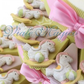 Torta Bomboniere Nascita Battesimo Porta Confetti Magnete Pony Shabby Bimba