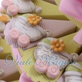 Torta Portaconfetti Magnete Carrozzina Shabby Rosa