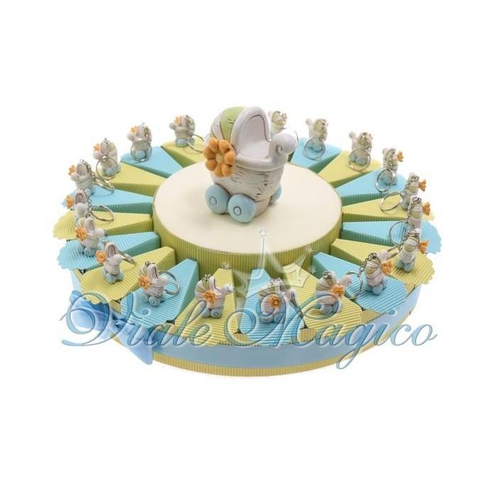 Bomboniere Nascita Battesimo Torta Confetti Portachiave Carrozzina Shabby Bimbo